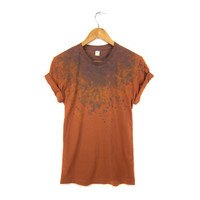 "The Original ""Splash Dyed"" Hand PAINTED Scoop Neck Pinned Rolled Cuffs Boyfriend Fit Tee in Vintage Rust Patina - Women's M L XL 2XL 3XL"