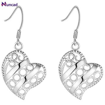 2017 New Elegant Silver Tree Of Life Heart Hollow Flower Drop Earrings Totem Gift Wife Unique Ear Jewelry Valentines Day