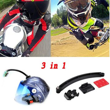 Mount Motorcycle Cycling Helmet Extension Arm + Buckle + 3M Sticker for Go pro
