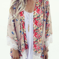 Apricot Floral Print Kimono Cover-up with Lace Accent