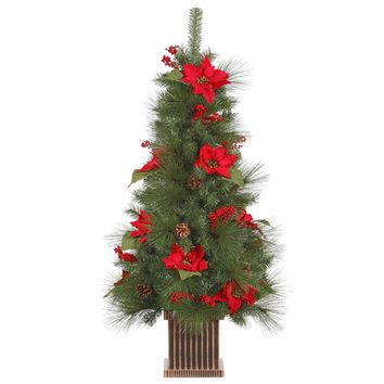 4' Poinsettia Berry and Pine Cone Potted Artificial Christmas Tree - Unlit
