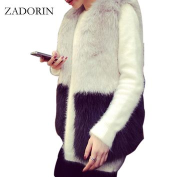 2017 Fashion Faux Fur Vests Grey and Black Splicing Faux Rabbit Fur Vest Women  Fur Jacket abrigo pelo mujer