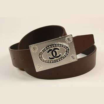 ONETOW Perfect CHANEL Woman Fashion Smooth Buckle Belt Leather Belt