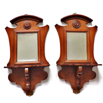 Small Antique Mirror, Victorian Wooden Shelf, Hanging Mirror, Mahogany Wall Sconce, Small Furniture, Home Accessories, Vintage Interior