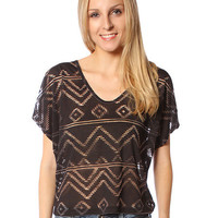 Papaya Clothing Online :: SEE THROUGH ETHNIC PATTERN CROP TOP