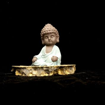 ceramic Buddha statue monk yixing tea pet boutique car accessories auspicious ornaments sand flower garden  home decoration