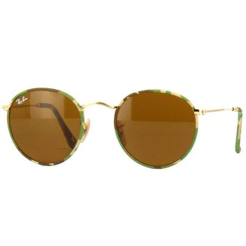 Ray Ban RB3447JM 169 Round Camouflage Sunglasses Gold Brown Classic B-15 50mm