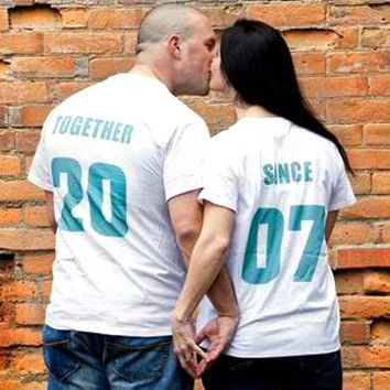 'TOGETHER SINCE' set of 2 Matching Tees for Newlyweds, Anniversary or Wedding Gift