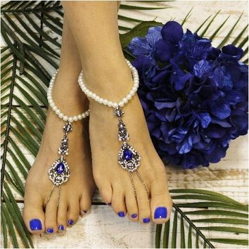 VINTAGE pearl barefoot sandals - sapphire blue