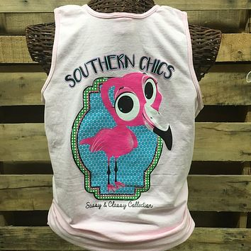 Southern Chics Preppy Flamingo Comfort Colors Bright Tank Top Shirt