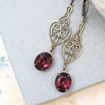 Long Dangle Earrings Purple Vintage Glass Antique Gold Brass Filigree Old Hollywood Modern Formal Rhinestone Wedding Jewelry