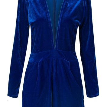 Navy Plunge V-neck Long Sleeve Velvet Romper Playsuit