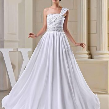 Design Fashion Vintage Wedding Dresses Beading One Shoulder Bride Gown White Ivory
