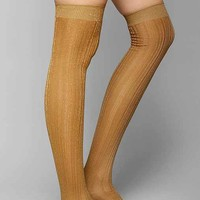 Ribbed Lightweight Metallic Thigh-High Tight-