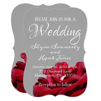Marsala Red Burgundy Floral Grey Wedding Card