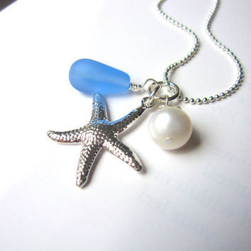 Baby Blue seaglass necklace with swarovski pearl & starfish - Bridesmaids Necklace in Beach or Destination Wedding FREE SHIPPING