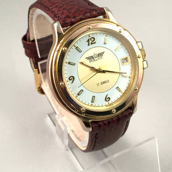 "Vintage Chunky Russian Men's  wristwatch called ""FLIGHT""-(Poljot) with rare gorgeous dial. New Leather band!"