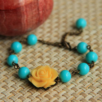 Bracelet: Turquoise rose cabochon with turquoise glass beads, antique brass chain, perfect gift for her, mother's day gift
