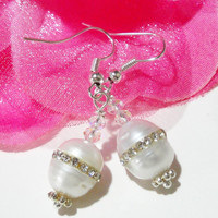 Bridal White Freshwater Pearl Inlaid  Crystal Sterling Silver Plated Earrings