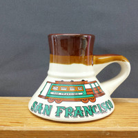 Vintage San Francisco Mug, California Souvenir, No Spill Travel Mug, Coffee Cup, Cable Car, Trolley, Stoneware, Turquoise, Vintage Kitchen