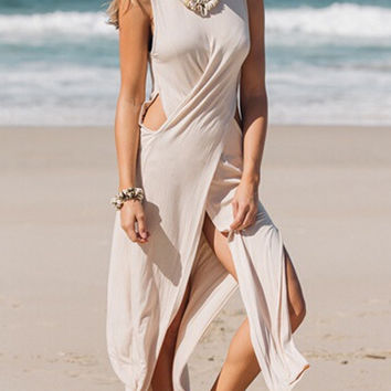 Beige Sleeveless Side Split Wrap Maxi Dress with Cut-Out Accent