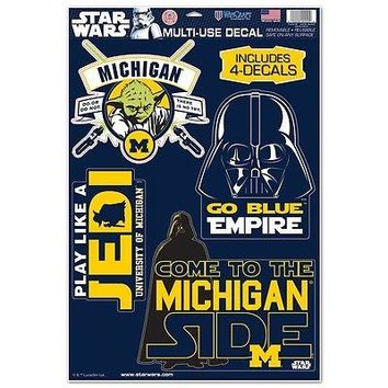 MICHIGAN WOLVERINES STAR WARS YODA & VADER LAPTOP MULTI USE REUSABLE DECALS NEW