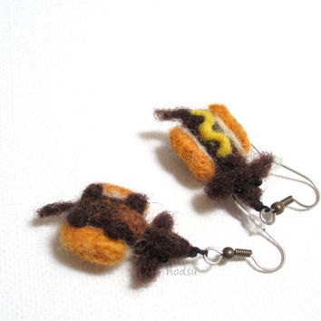 Felted doxie earrings, needle felted, wiener dogs, daschund jewelry, hot dogs, surgical steel,  gift for her, dog lovers gift, MADE TO ORDER
