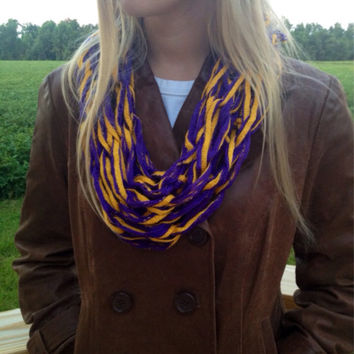 Purple and Gold Lightweight Fashion Arm Knit Scarf, Purple and Yellow Infinity Scarf