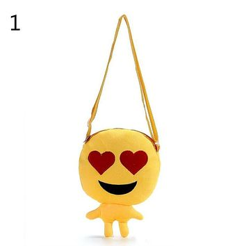 Cartoon School Bags Plush Toys Doll Round Bag Satchel Children Shoulder Bag For Kindergarten Cute Expression Children Hand Bag