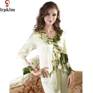 Pajamas Sets Spring Summer Faux Silk Women With Sleep Embroidery PJ Set Solid Flare Sleeve Lady Nightgown Home Clothes SY537