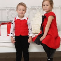 Boys Christmas outfit Ring bearer Wedding party outfit Toddler boy vest and pants Corduroy pants Photo prop