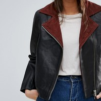 Wood Wood Real Leather Aviator Jacki Jacket at asos.com