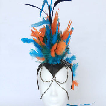 Feathered mohawk headdress