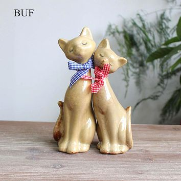 BUF 2Pcs/Set Modern Abstract Couple Cats Statue Ceramic Sculpture Figure / Cat Figurine