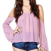 Off-the-shoulder Long Sleeves Chiffon T-Shirt