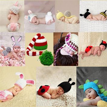 Rabbit Baby Newborn Photography Props Knit Hat Animal Baby Pants Defined for Newborns Photo Shoot Baby Costume Newborn Baby Cute