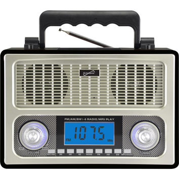 Supersonic 10 Band AM-FM-SW Radio Black