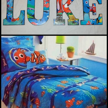 Finding Nemo Inspired Personalized/Customized  Wooden Letters for Children