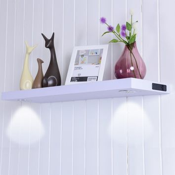 """32""""L Black/White Wall Mount Shelf with LED Lamp This wall shelf with two LED lamps adds ambiance to room and accent special accessories artwork at the same time."""