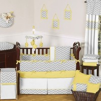 Chevron Zig Zag Yellow, White and Gray Baby Crib Bedding - 9 Pc Set