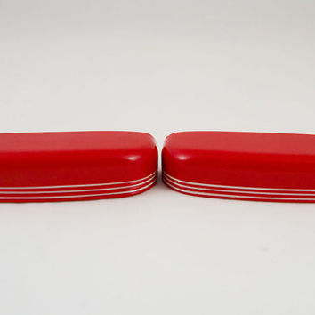 Two NOS Red & White Art Deco Streamline Style Drawer Pulls