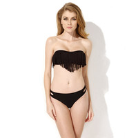 Strapless Fringed Cut-Out Triangle Bikini