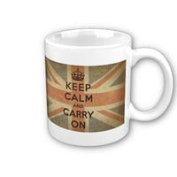 Keep Calm and Carry On with UK  Flag Coffee Mugs from Zazzle.com