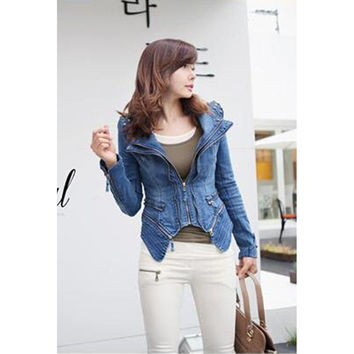 Vintage Hot Punk Grils Cool Rivet Studded Shoulder Motorcycle Denim Jeans Coat Jacket Light blue