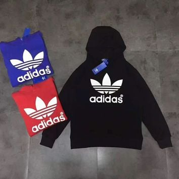 ADIDAS Casual Fashion Sport Monogram and Logo Print Long Sleeve Hooded Sweater G-A-GHS