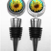 A158 - Blue Sky Sunflower Name Wine Bottle Stopper