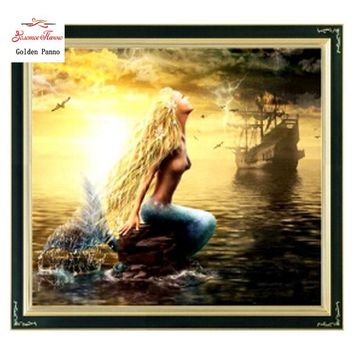 Golden Panno,Needlework,DIY DMC Cross stitch,Sets For Embroidery kits,Precise Printed Mermaid Patterns Counted Cross-Stitching