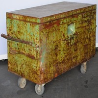 Twenty Gauge Green Patina Trunk/Cart - Salvage Furniture - Store Vintage Steel Furniture