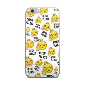 Bitch Please Emoji Collage Cute Girly Girls Talk To The Hand White iPhone 4 4s 5 5s 5C 6 6s 6 Plus 6s Plus 7 & 7 Plus Case