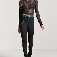 Sheer Metallic Crop Top